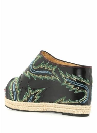 Toga Pulla Dolgu Topuklu %100 Deri Sandalet Siyah